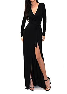 VIVICASTLE Women's Sexy Long Sleeve Tulip Wrap Slit Front Full Long Maxi Dress