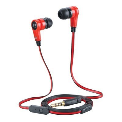 Handsfree Anti-Tangle Stereo Earbud Headphones With Built-In Microphone . Lightweight Slim Design. For Tablets, Smart Phones, Mp3 Players, Cell Phones, S3/S4, Samsung S5, Portable Gaming, Iphone 3/4/4S/5/5C, Ipad,Ipod (Red-Black)