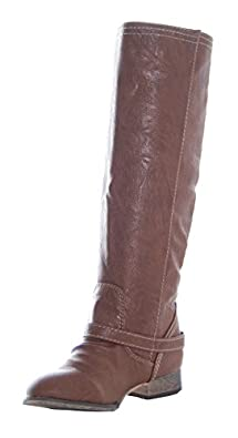 Breckelles Outlaw-11 Women's Ankle Strap Tall Riding Boots Tan 5.5