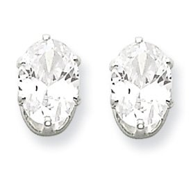Genuine IceCarats Designer Jewelry Gift Sterling Silver 7X5 Oval Cz Stud Earrings