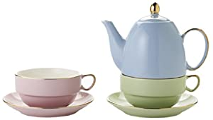 Classic Coffee & Tea Glazed Teapot for Two, Assorted, 20 Oz. from Yedi Inc.