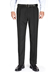 Supercrease® Single Pleat Regular Fit Trousers with Wool