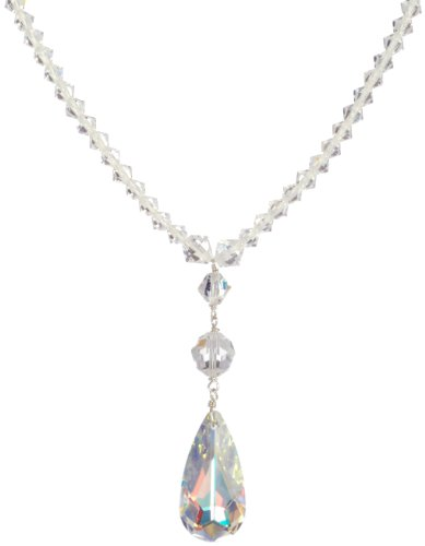 Sterling Silver Swarovski Elements Crystal Bicone and Faceted Round Bead Necklace with Crystal Aurora Borealis Tear Drop Pendant Necklace, 16