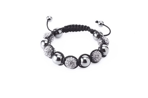 Fashion Five 12mm Clay Bead with Hand Set White Czech Crystals and Hematite Beads Shamballa Adjustable Bracelet