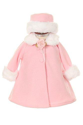 Girl's Cozy Fleece Long Sleeve Cape Jacket Coat - Pink Infant M 6-12 Months