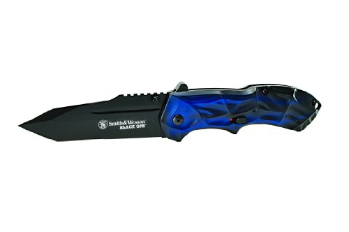 Smith & Wesson SWBLOP3TBL Ops M.A.G.I.C. Assisted Opening Liner Lock Folding Knife, Dark Blue