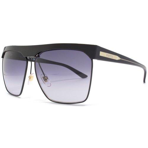 Gucci Square Aviator Heavy Brow Black Sunglasses