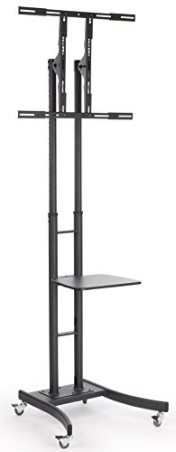 "Mobile Lcd Tv Stand With Locking Casters, Height Adjustable Bracket, Fits 32"" To 84"" Monitors, Steel (Black)"