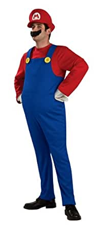 Super Mario Brothers Deluxe Mario Costume, As Shown, Medium