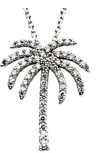 Fun and Tropical Diamond Studded Palm Tree Pendant in 14k White Gold - FREE Chain