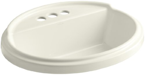 Kohler K-2992-4-96 Tresham Oval Shaped Self-Rimming Lavatory with 4-Inch Centerset Faucet Drilling, Biscuit