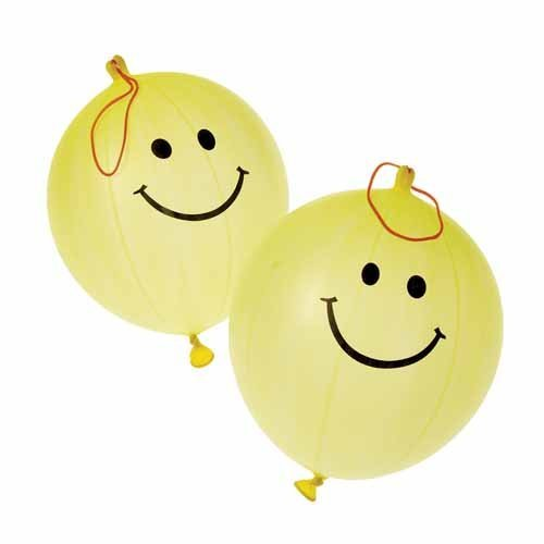 US Toy - 12 Yellow Smiley Face Smile Theme Punch Ball Balloons