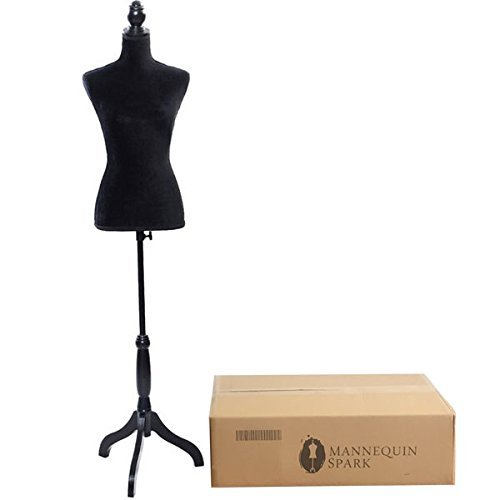Bonnlo Female Dress Form Pinnable Mannequin Body Torso with Wooden Tripod Base Stand (6, Black)