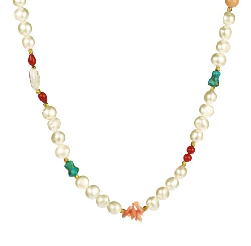 White Potato Freshwater Cultured Pearl, Bone-Shape Turquoise and Dyed Coral Necklace, 18