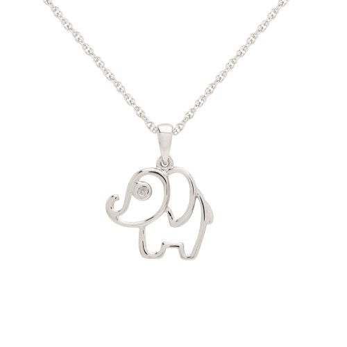 Sterling Silver Children's Elephant Pendant Necklace 13+3