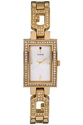 Guess Ladies Stone Set Polished Gold Case Bracelet  Watch