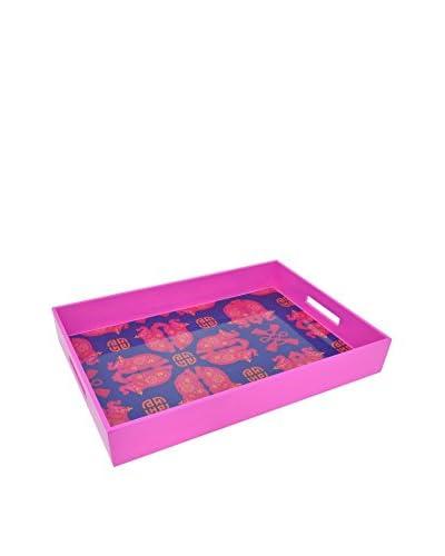 Three Hands Wood Tray, Pink