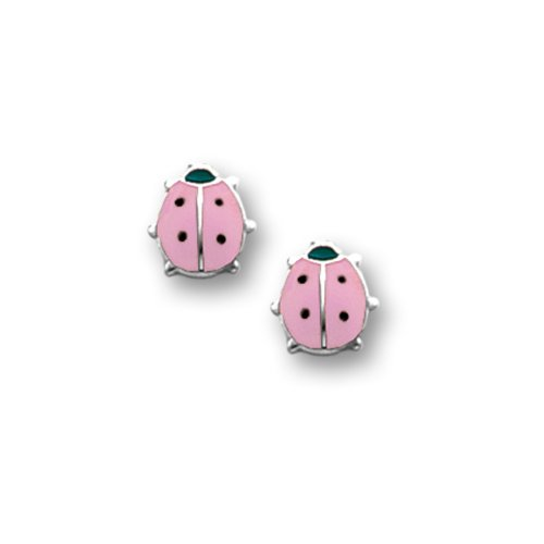 Sterling Silver Children's Pink and Black Ladybug Earrings