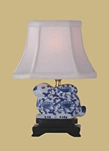 small blue white porcelain bunny table lamp small. Black Bedroom Furniture Sets. Home Design Ideas