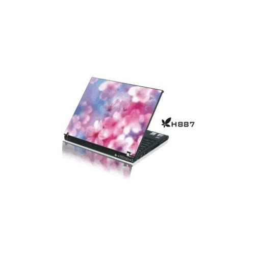 15.4 Laptop Notebook Skins Sticker Cover H887 Pink Flowers (Brand New with 2 FREE touch pad decals)