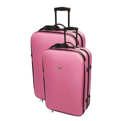 2 Pink Confidence Expandable Suitcases Set with Wheels by Confidence