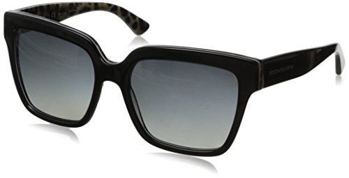 D&G Dolce & Gabbana Women's 0DG4234 Square Polarized Sunglasses,Top Black/Leopard,57 mm