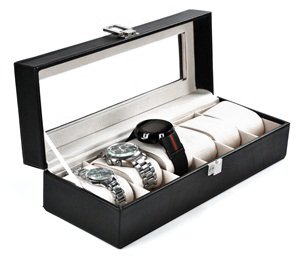 Cosmos ® Black Leather Watch Box 6 Compartments and Soft Cushions with Window and Lock - for 6 Watches with Cosmos Fastening Strap