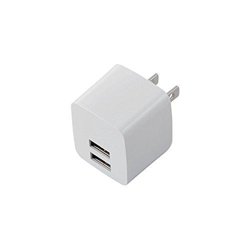 ELECOM スマートフォン タブレット用AC充電器 iPhone6s/6s Plus対応 2.4A出力 USB2ポート ホワイト  MPA-ACUEN000WH