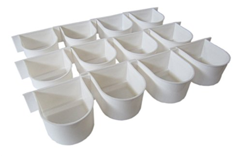 YML Group C8054-W Lot of 12 White Plastic Cup for Breeding Cages C8054-W