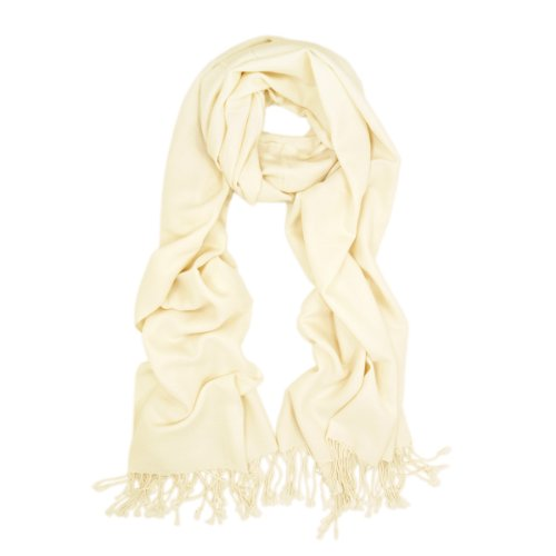 Premium Eco-Friendly Silky Soft Solid Color Bamboo Fiber Shawl Wrap Stole Scarf - Off White / Ivory