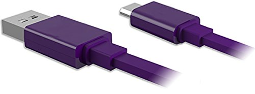 "Mylife Dark Purple {Solid Flat Noodle Design} 6' Feet (1.8 Meter) Quick Charge Usb 2.0 Micro Usb To Usb Data Sync Cord For Phones, Cameras, Tablets And Gps Devices ""See Compatibility"" (Durable Rubber Coat)"