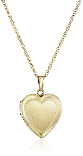"""14k Yellow Gold-Filled Engraved Heart Locket Necklace, 18"""""""