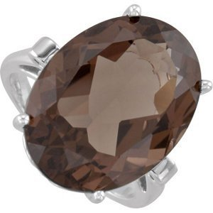 Sterling Silver 20x15mm Oval Smoky Quartz Fleur-de-Lis Ring