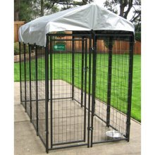 Uptown Welded Wire Box Kennel - Black with Gray Cover (6'Hx4'Wx8'L)