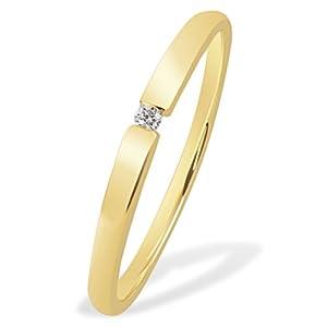 Goldmaid Damen-Ring Solitär Spannfassung 333 Gelbgold 1 Brillant 0,03 ct. Gr. 54 So R4696GG54