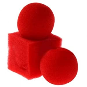 Souked Kingmagic Magic Ball To Square Sponges Tricks Set Red
