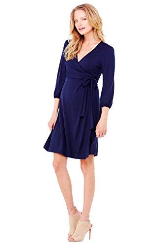 Ingrid & Isabel 3/4 Sleeve Maternity Wrap Dress - Navy - Large front-507355