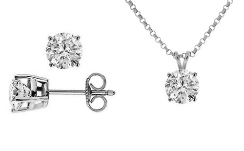 1.00 carat ct tw Round Diamond Solitaire Pendant and Stud Earrings Push Back / Friction Back Set in 14K White Gold (D Color I3 Clarity, 16 in or 18 in inches length, 0.33 carat each stone)