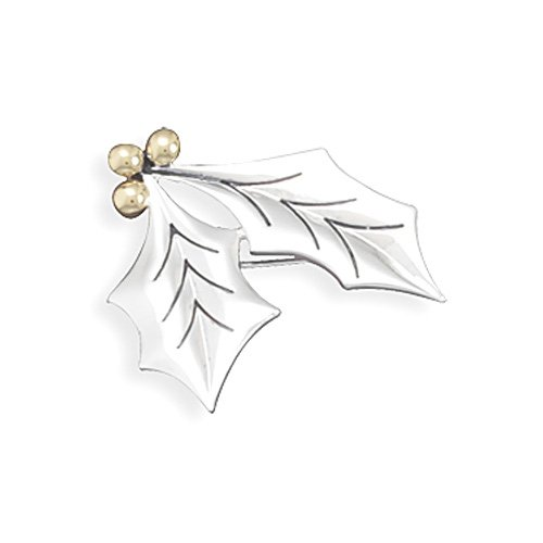 Two Tone Holly Leaves Fashion Pin/Pendant