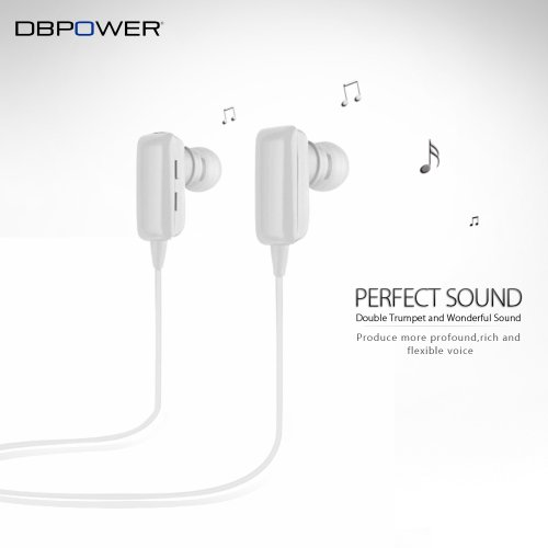 Dbpower® White Handsfree Bluetooth A2Dp Music Earbud Headphones For Iphone 4 4S 5 Ipad Mini Ipad 1 2 3 4 Galaxy S 1 2 3 4 Note 1 2 Htc One M7 Sony L36H Nokia Lumia 920 And Other Bluetooth Phone Tablet Pc