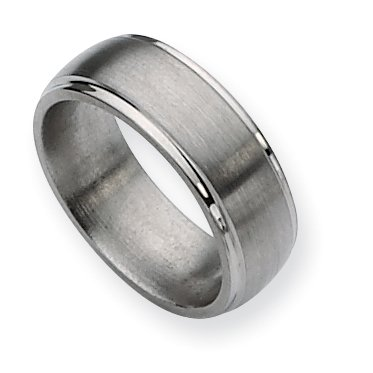Titanium Ridged Edge 8mm Brushed And Polished Band, Size 14