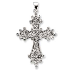 PriceRock Sterling Silver CZ Filigree Cross Pendant