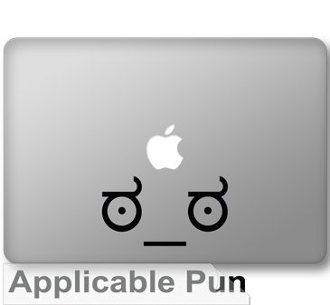 "Look of Disapproval Meme - 5"" Black Vinyl Decal Decorative - Sized for 13"" Macbooks"