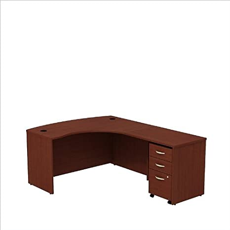 BBF Series C L Bow Desk Shell with 3 Drawer Mobile Pedestal in Mahogany