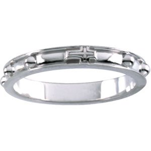 Sterling Silver Rosary Ring With Raised Borders - Size 8 - JewelryWeb