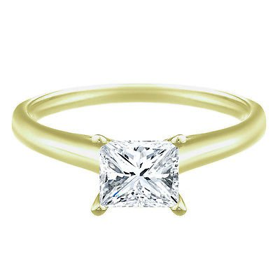 14k Yellow Gold Over .925 Silver .47 CT Princess Cut Solitaire Diamond Engagement Ring Free Sizing