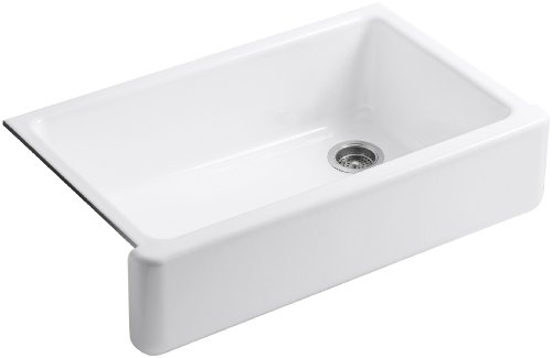 KOHLER K-6489-0 Whitehaven Self-Trimming Apron Front Single Basin Sink with Tall Apron, White