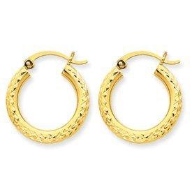 PriceRock 10k Diamond-cut 3mm Round Hoop Earrings