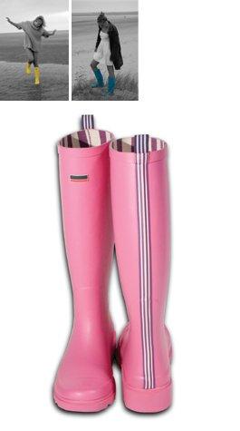 Striped Premium Wellington Boots Pink
