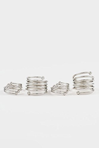 Glitz Finery Coil Spring Knuckle Ring Set (Rhodium)